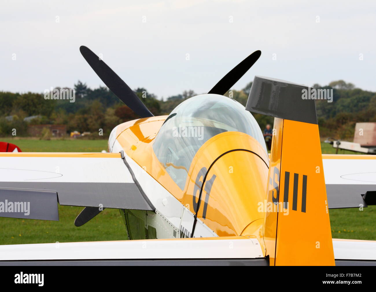 Extra 300 aerobatic plane parked at White Waltham Airfield - Stock Image