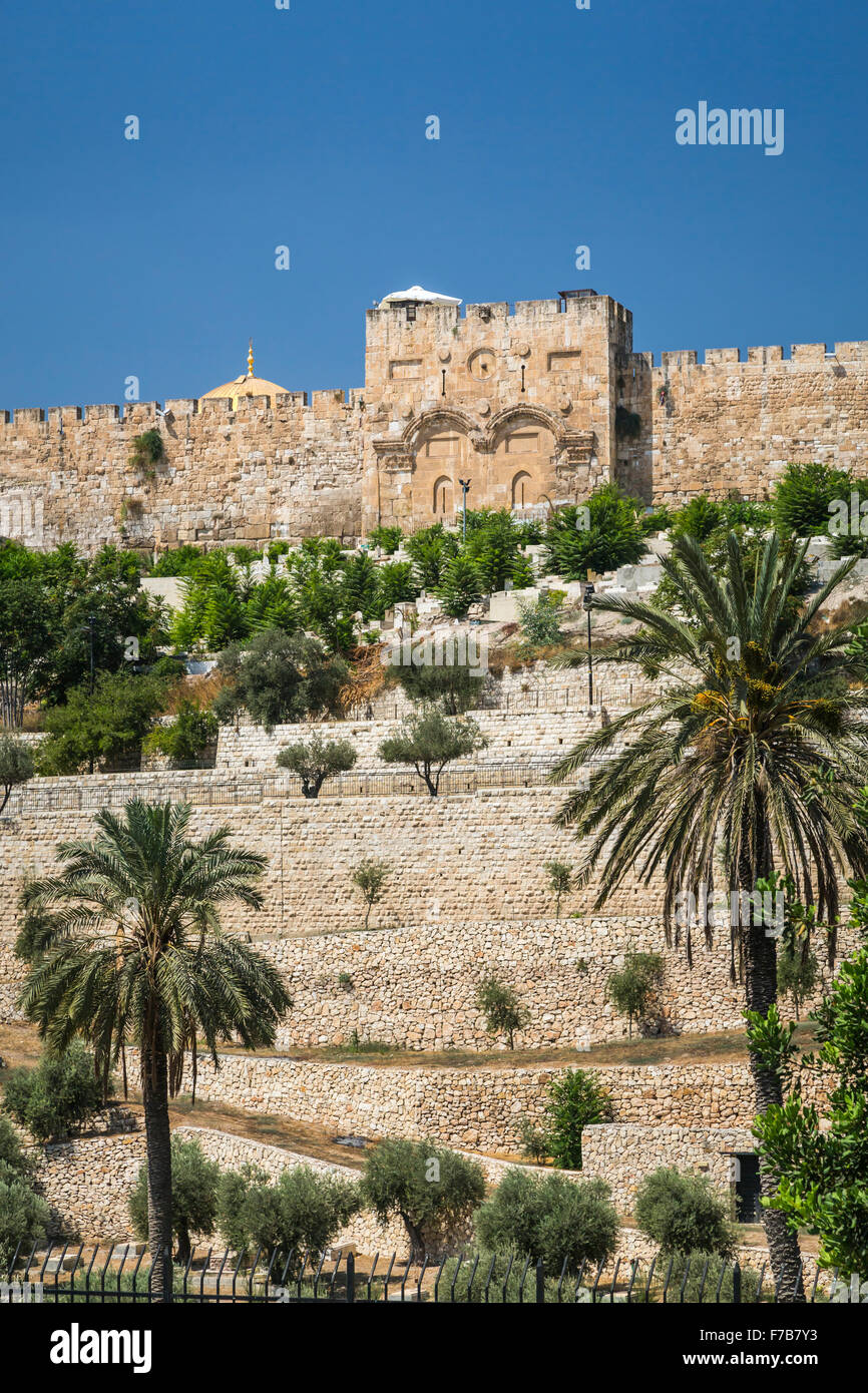 A view of the Eastern Gate across the Kidron Valley in Jerusalem, Israel, Middle East. Stock Photo