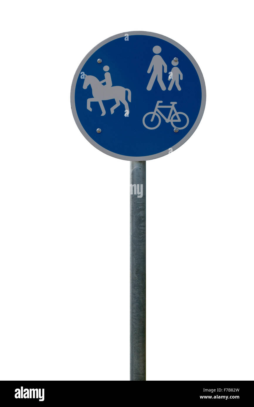 Blue road sign on white background - Stock Image