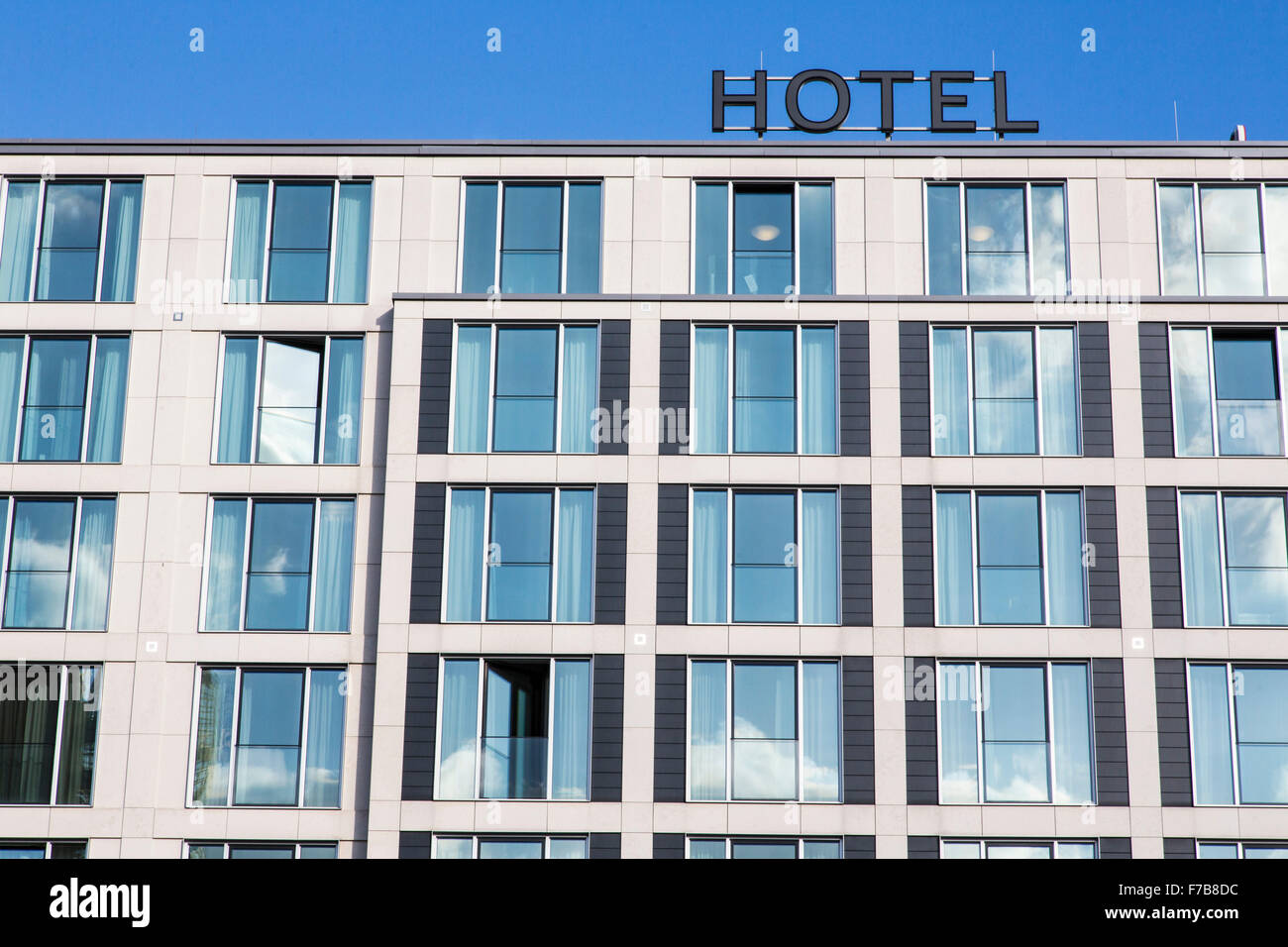 Facade of a modern hotel stock photo 90602552 alamy for Hotel design facade