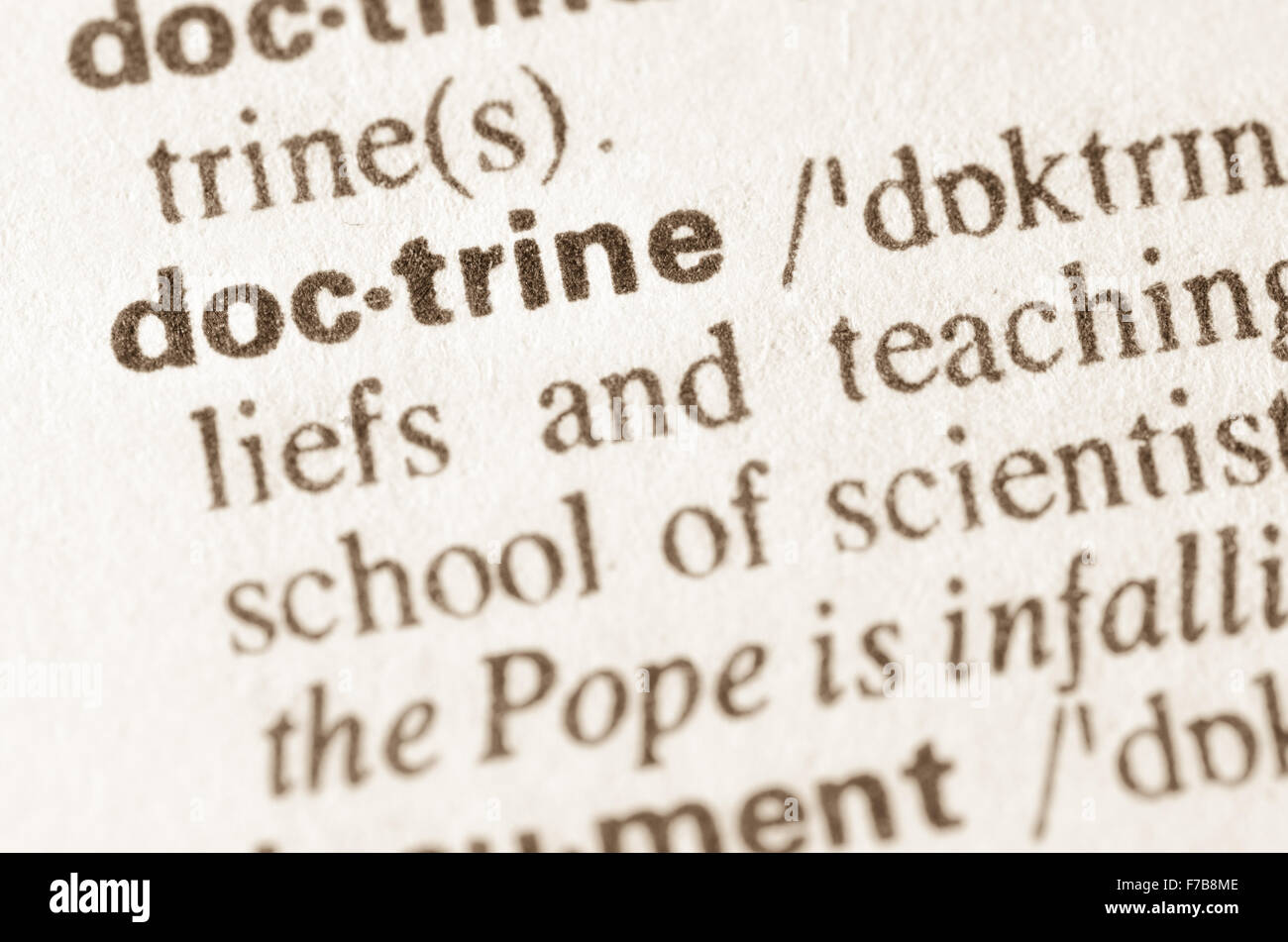 Definition of word doctrine  in dictionary Stock Photo