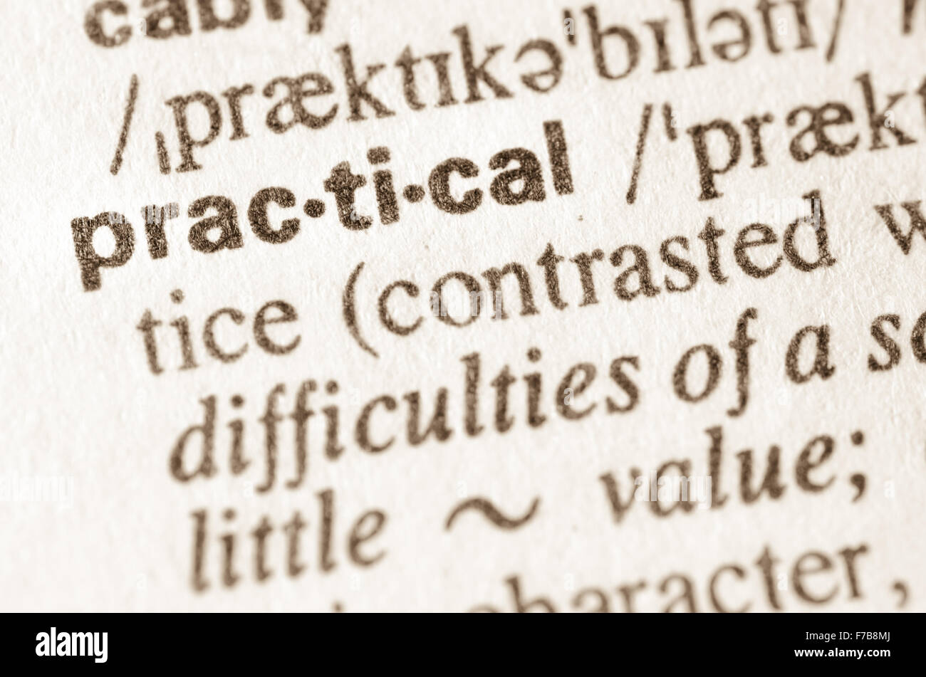 Definition of word practical in dictionary - Stock Image