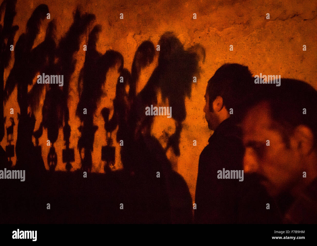 Shadow Of An Alam On A Wall On Ashura, The Day Of The Death Of Imam Hussein, Golestan Province, Gorgan, Iran - Stock Image