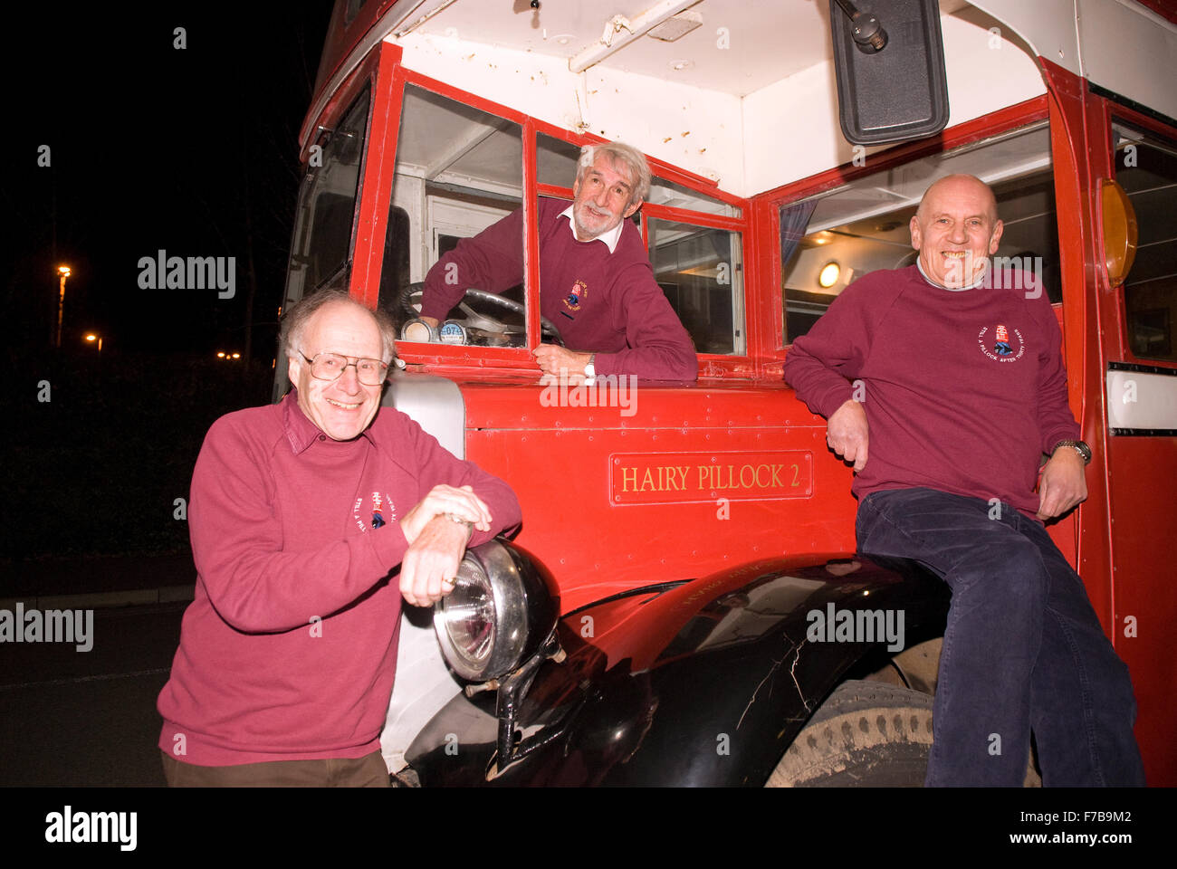 3 of the four surviving team of 9 who embarked on a 3-year round the world tour in 1969 on a 1948 Leyland bus... - Stock Image