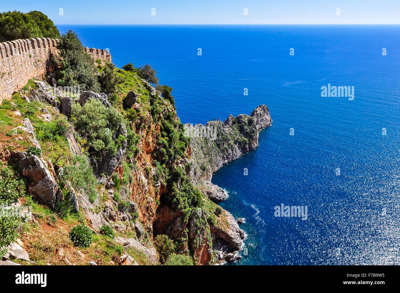 Magnificent view from Alanya castle - Stock Image