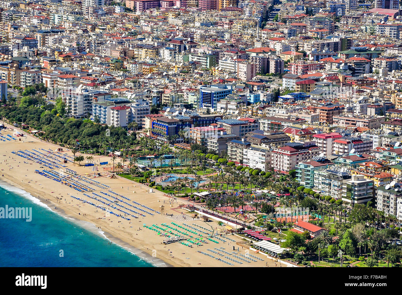 View of Alanya and Cleopatra beach from Alanya Castle - Stock Image