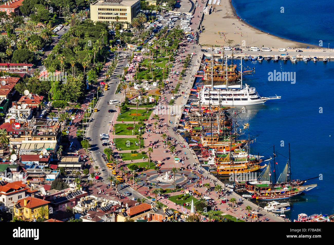 Boardwalk and harbour in Alanya, view from the castle - Stock Image