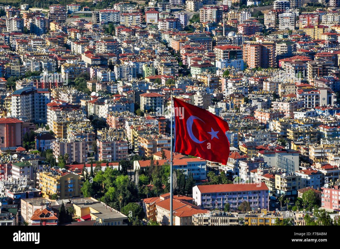 Turkish flag over Alanya - Stock Image