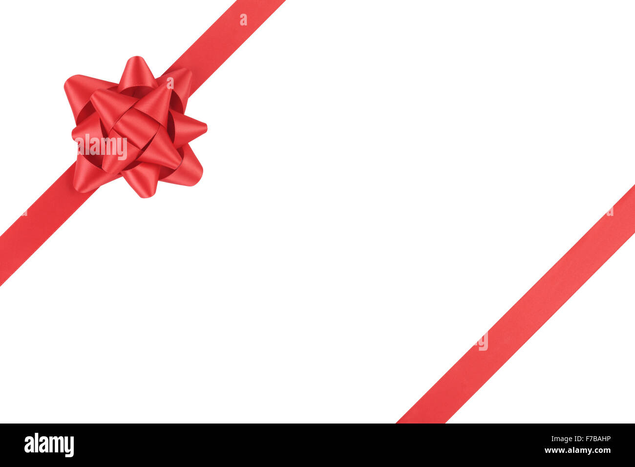 red ribbon template for packaging with gift bow isolated on white