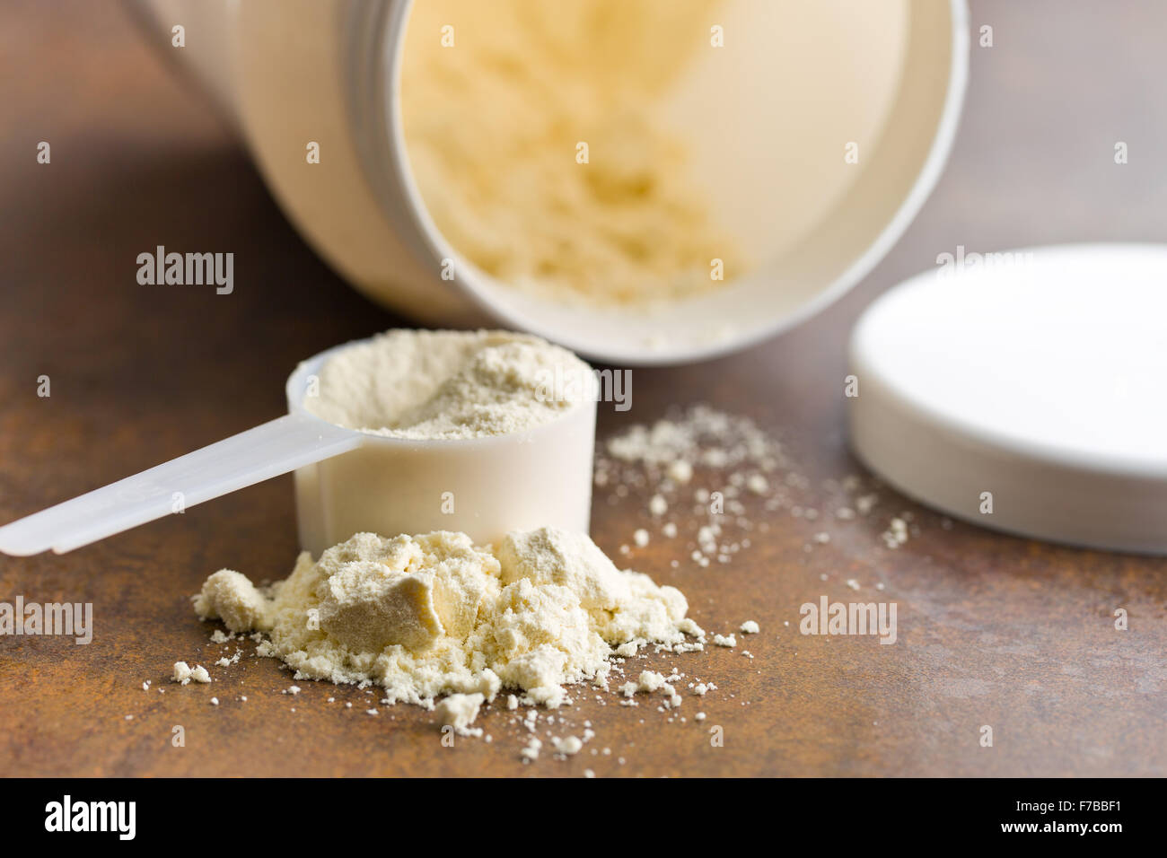 the whey protein in scoop - Stock Image