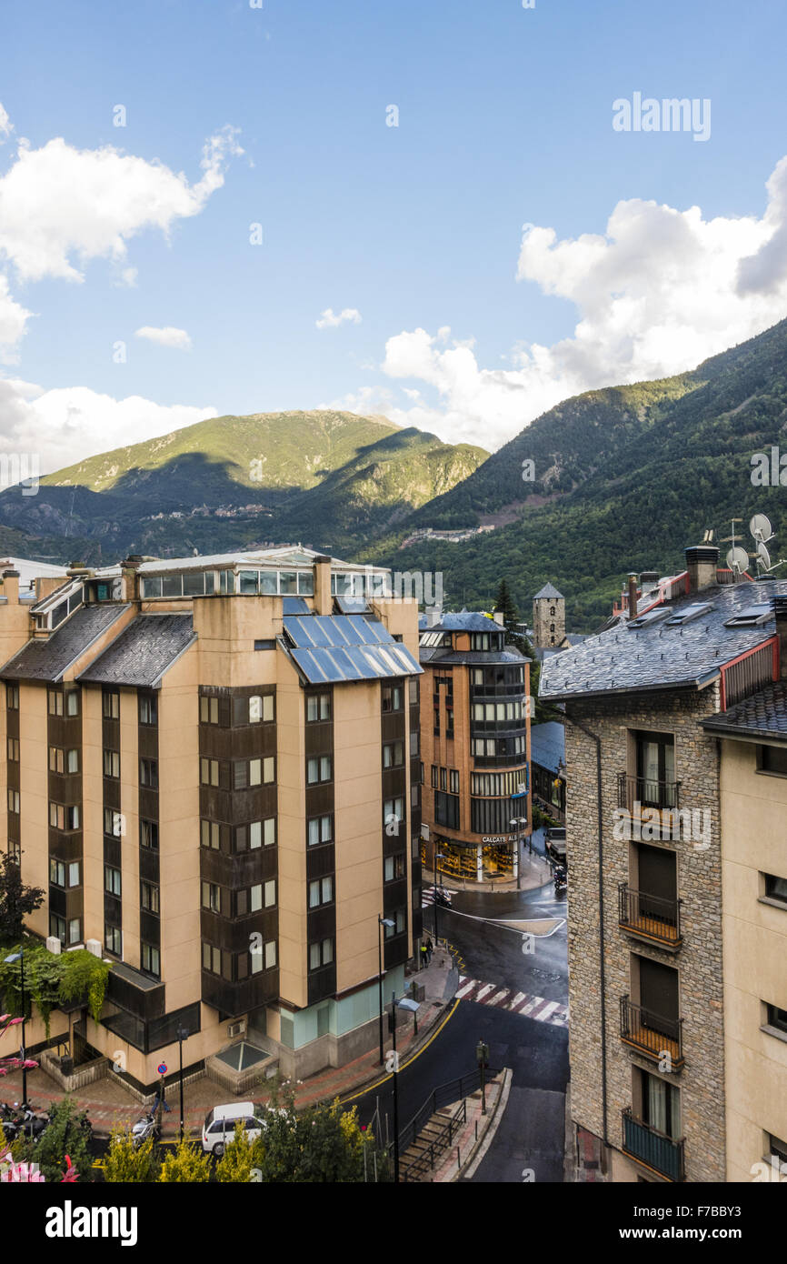 Andorra la Vella, capital city of Andorra, Andorra - Stock Image