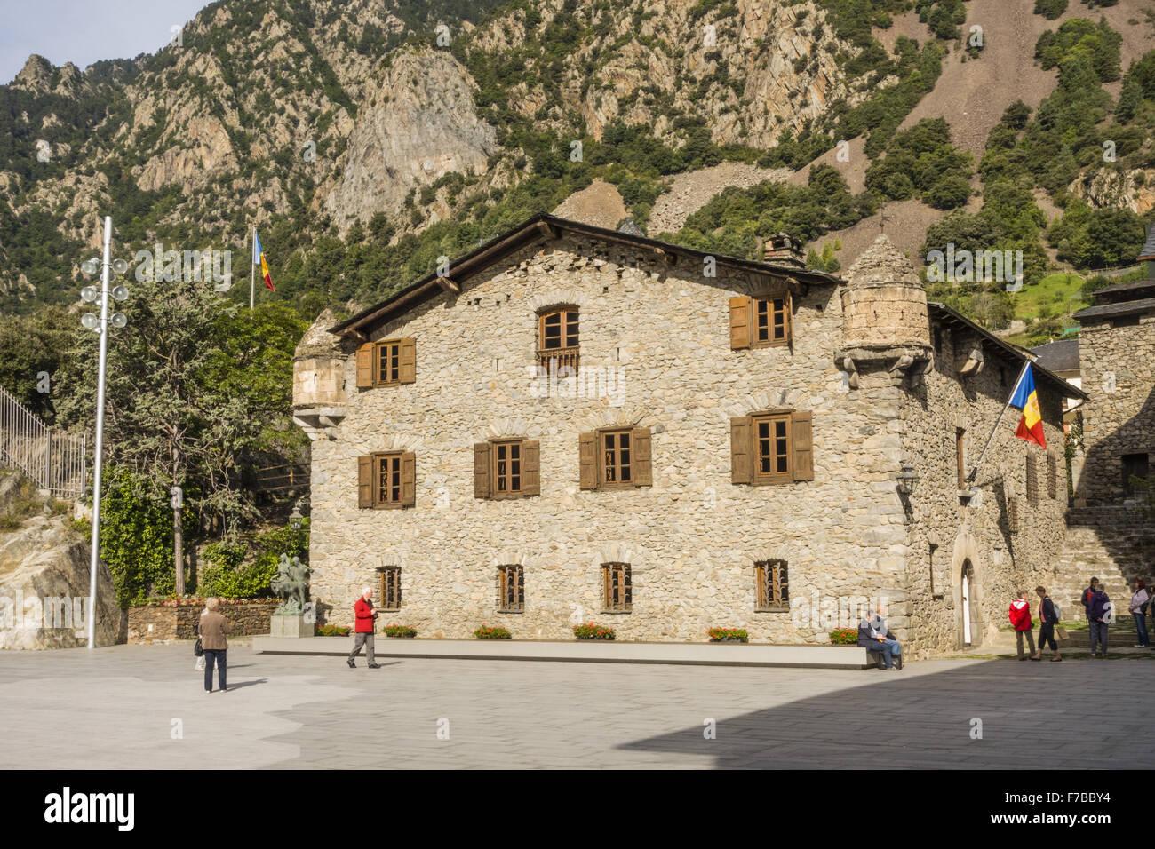 Casa de la Vall, old parlament, Andorra la Vella, capital city of Andorra, Andorra Stock Photo