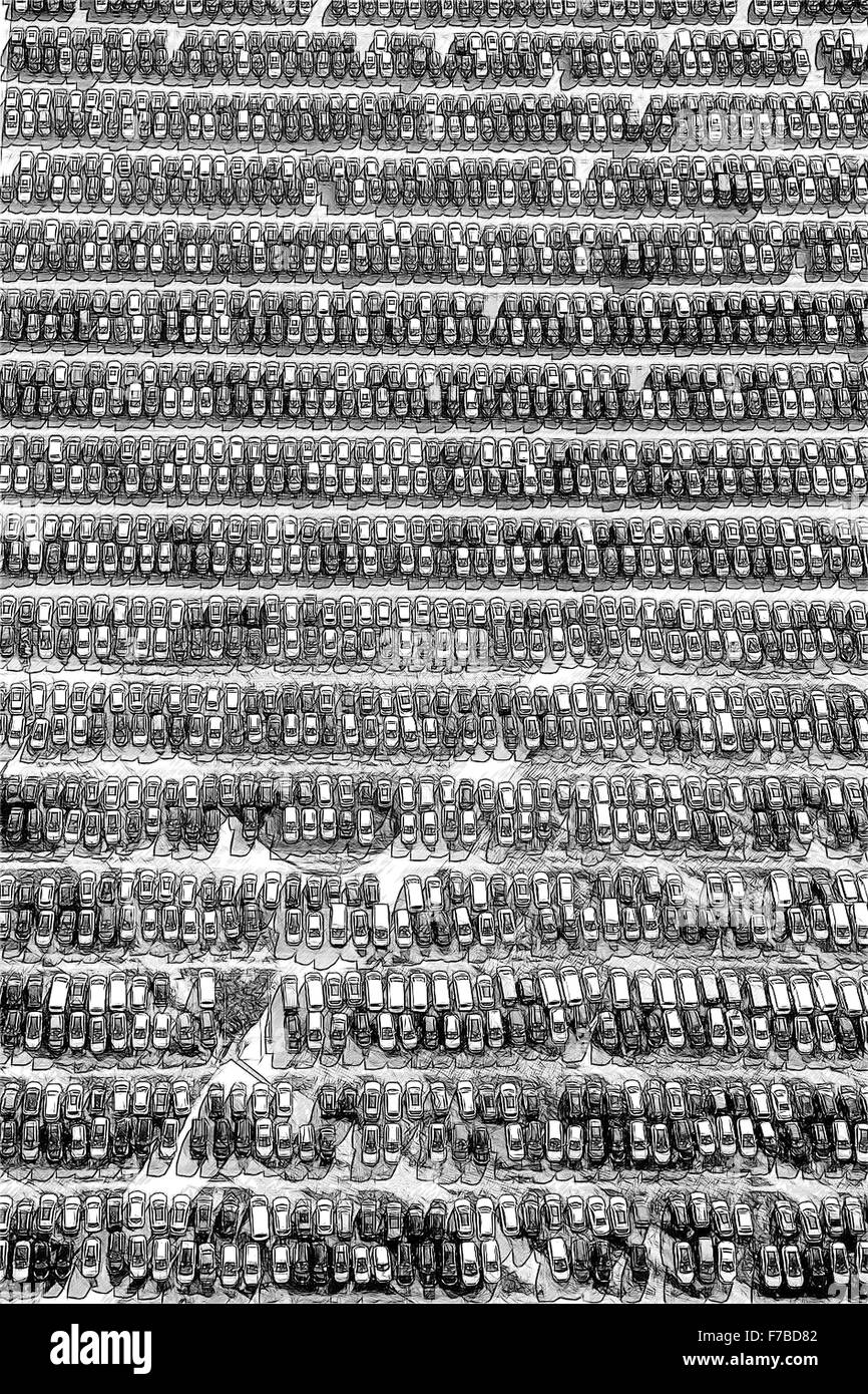 Car Importer, car trade, large parking, car sales, new car, car warehouse, Zülpich, Autoimport EU Cart RE-Import Stock Photo