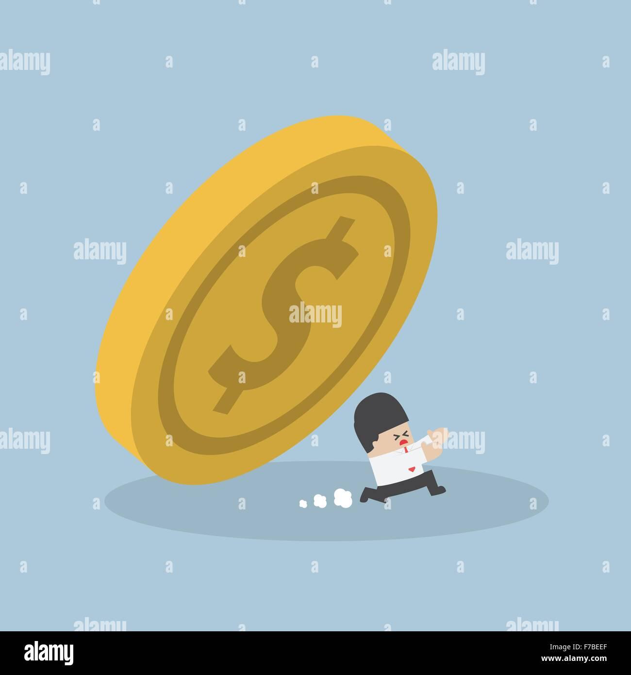 Businessman running away from falling dollar coin, VECTOR, EPS10 Stock Vector