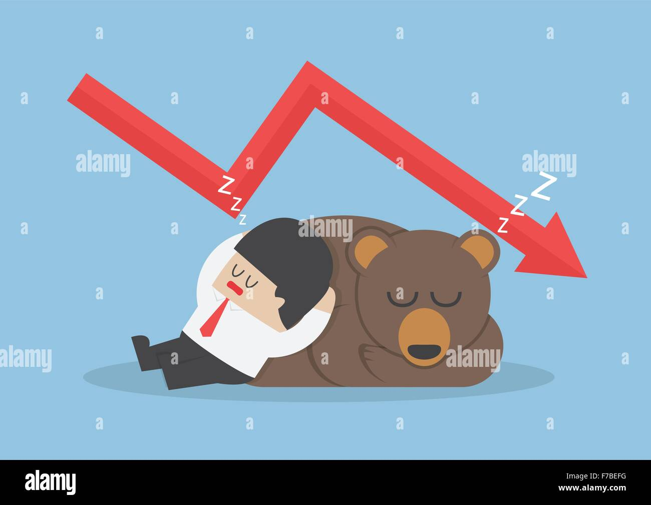 Businessman sleeping with bear with down trend graph, VECTOR, EPS10 - Stock Image
