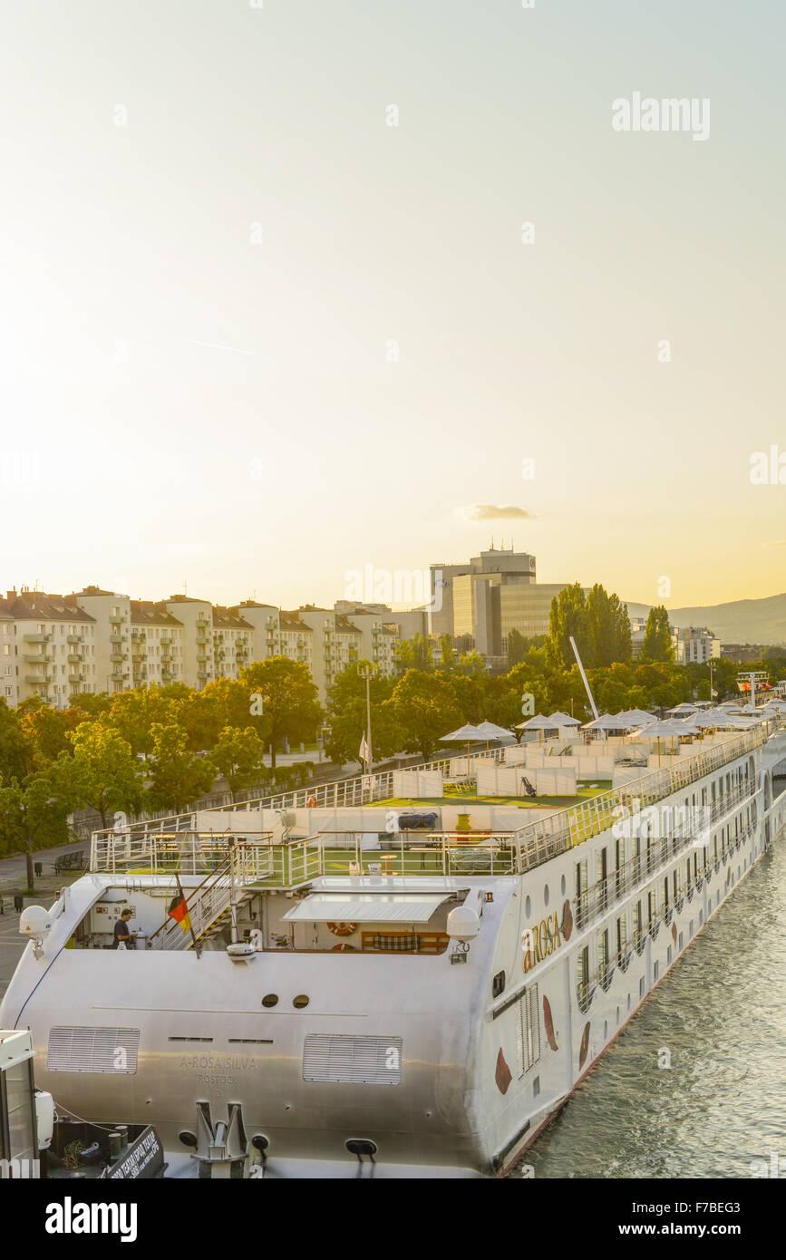 River Danube, ship Arosa, Millennium Tower, Vienna, Austria, Danube City - Stock Image