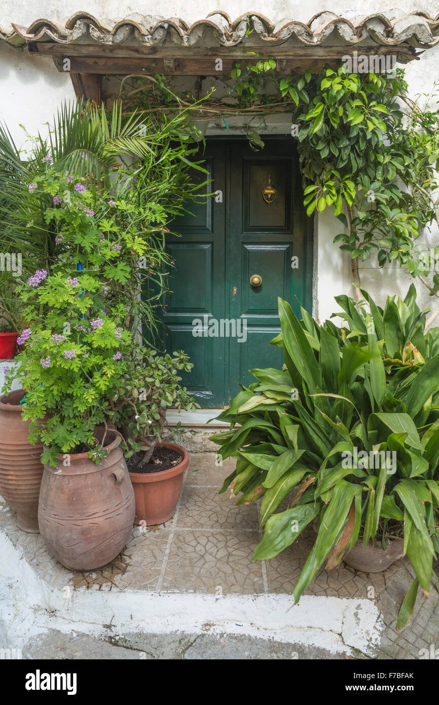 Greek urns filled with plants stand outside a door, Corfu, Greece. Stock Photo