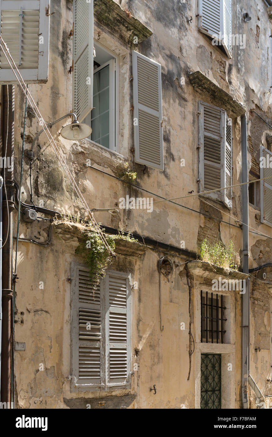Greek apartments in a back street in Corfu Town. Corfu Stock Photo