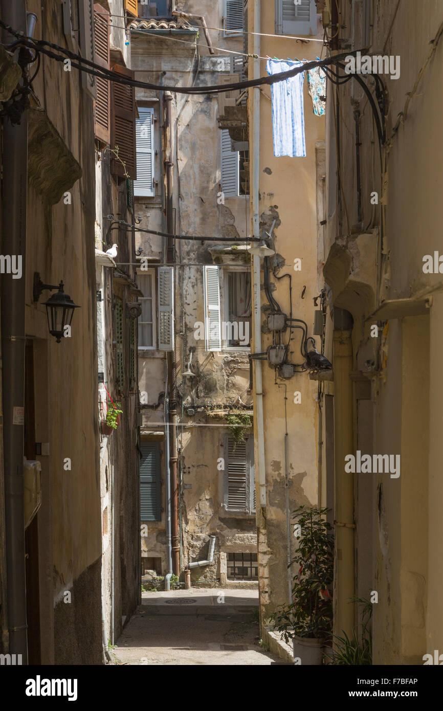 An old back street in Corfu Town. Corfu Stock Photo