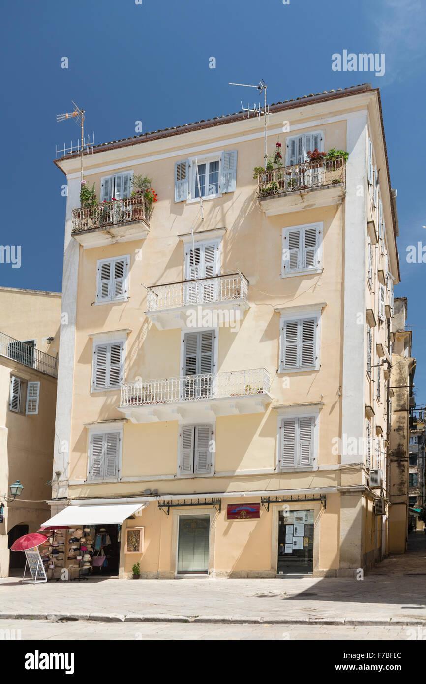 An old building in old Corfu Town. Corfu Stock Photo