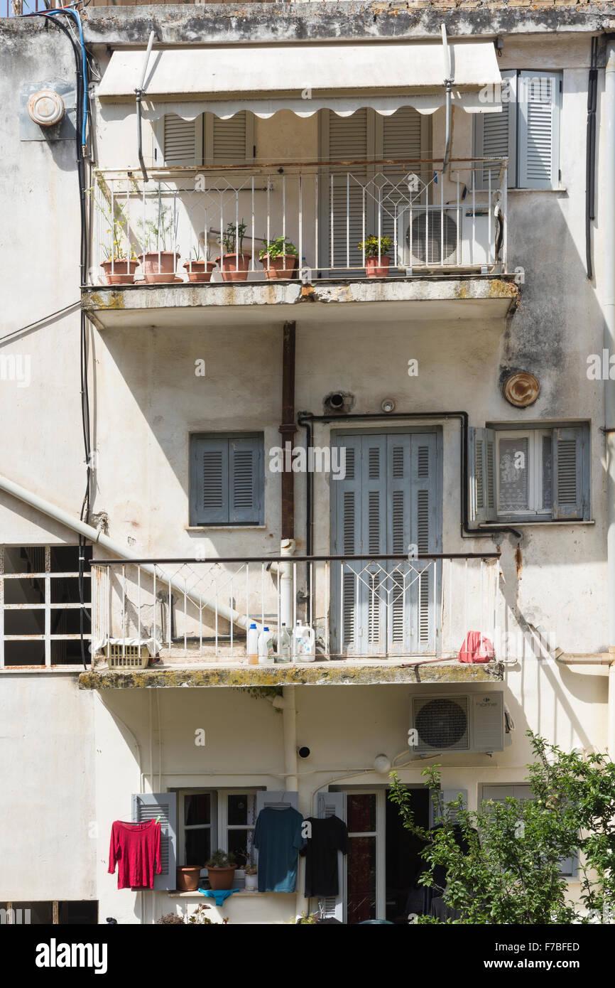 Apartments in a back street in old Corfu Town. Corfu Stock Photo