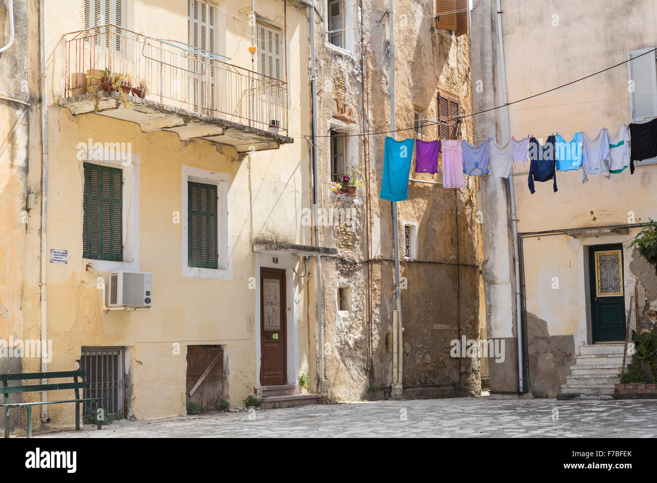 A square in the backstreets of Corfu Town, Corfu. Stock Photo