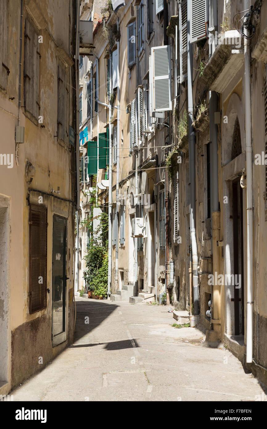 A back street in Corfu Town. Corfu Stock Photo