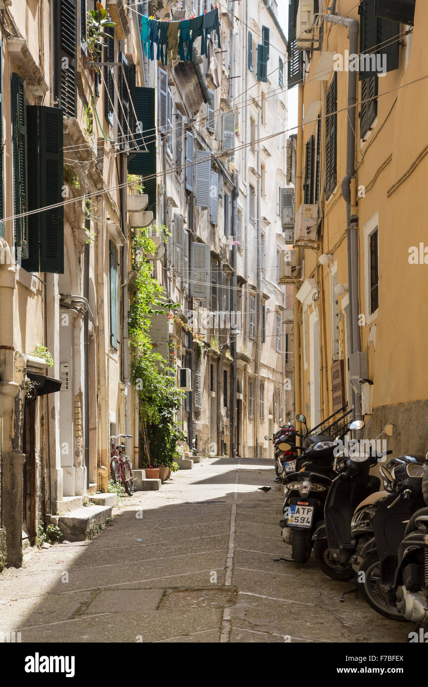 Mopeds parked in a back street in old Corfu Town. Corfu Stock Photo