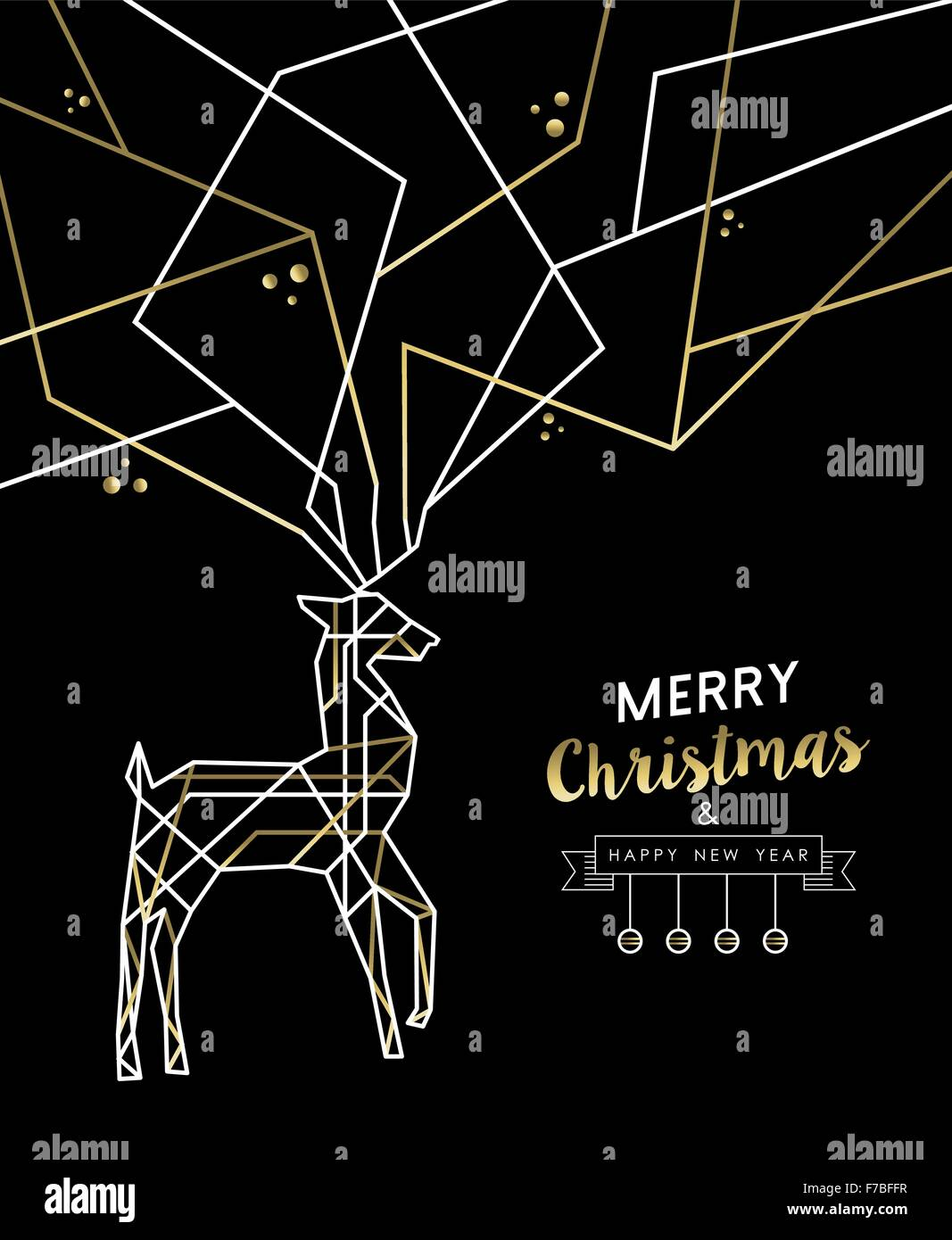 merry christmas happy new year gold and white deer outline art deco style antlers ideal for holiday greeting card xmas poster