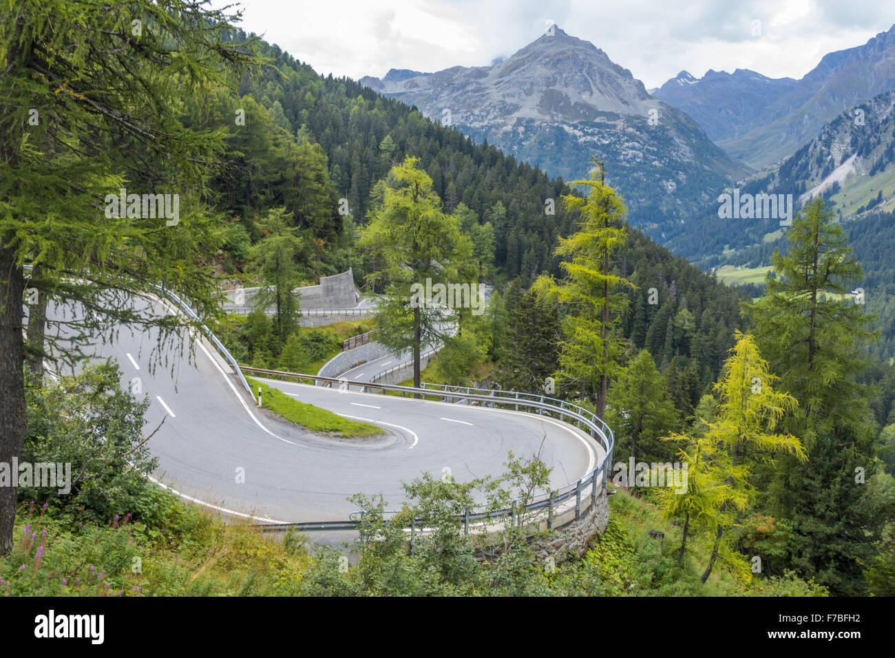 Majola Pass, el. 1.185 m, Swiss Alps, St. Moritz, Engadin, Graubuenden, Switzerland, Grisons - Stock Image