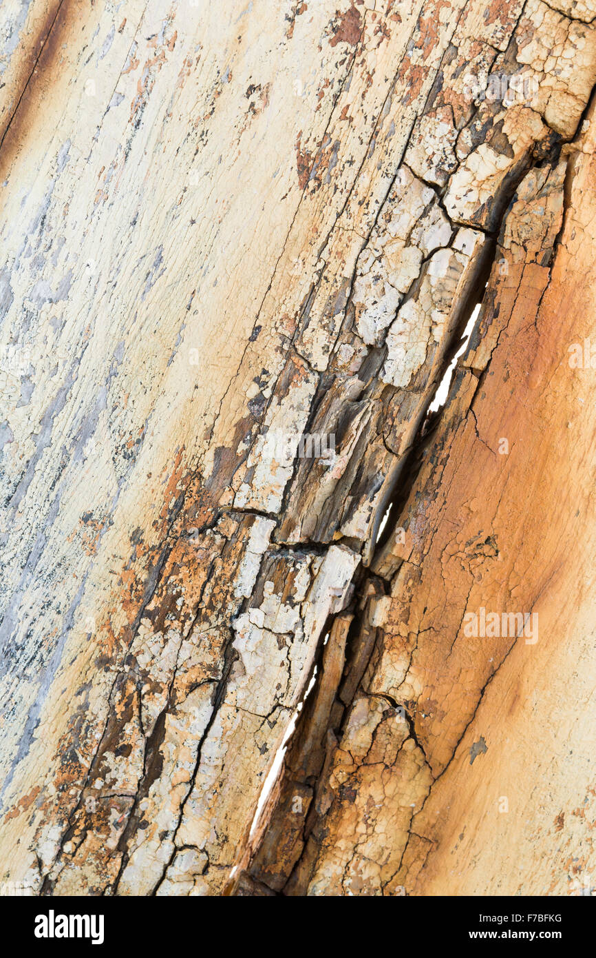Beautiful patterns in weathered decaying wood on a Greek fishing boat at Astrakeri, Corfu - Stock Image