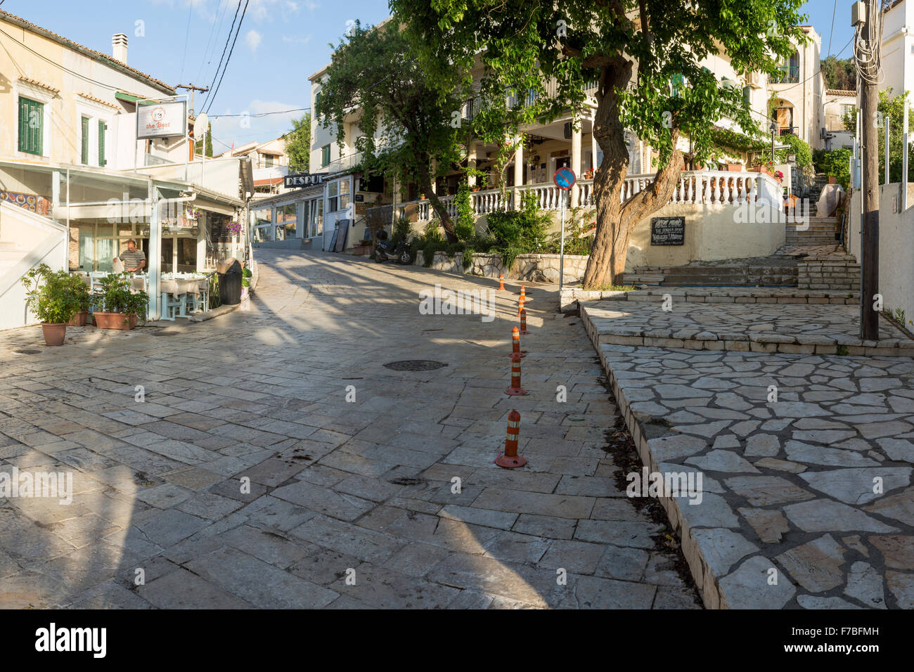 Kassiopi at first light before any tourists are out. Stock Photo