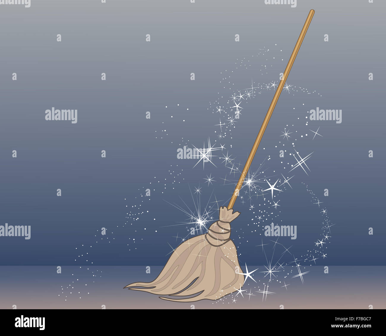 an illustration of a magic broom in an old fashioned style coming to life with magic sparkles on a blue background - Stock Image