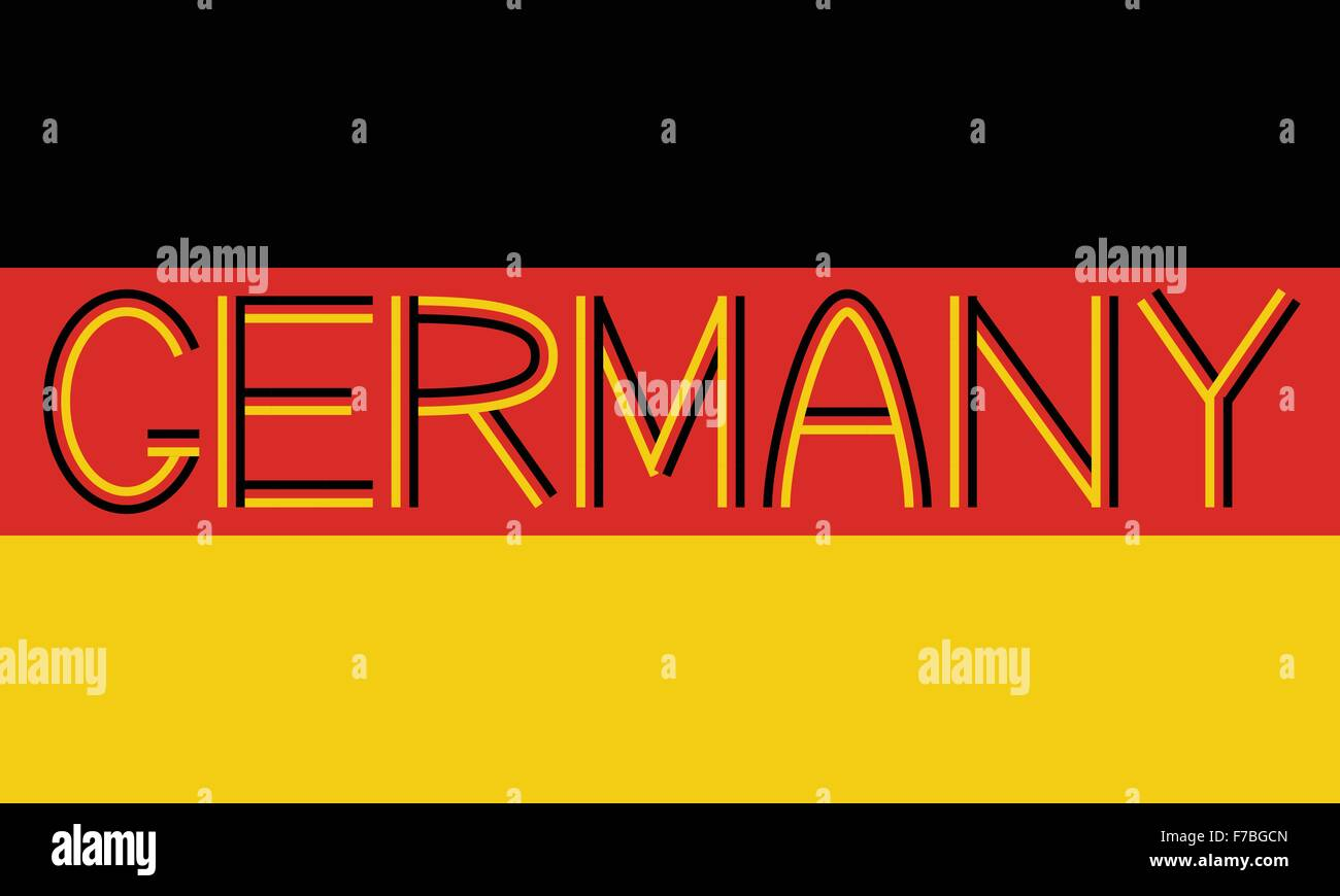 German flag and word Germany - Stock Image
