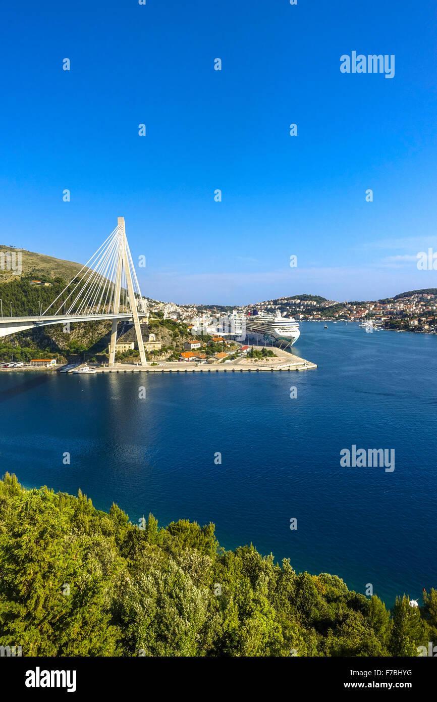 Cable-stayed bridge, Dubrovnik, Dalmatia, Croatia - Stock Image