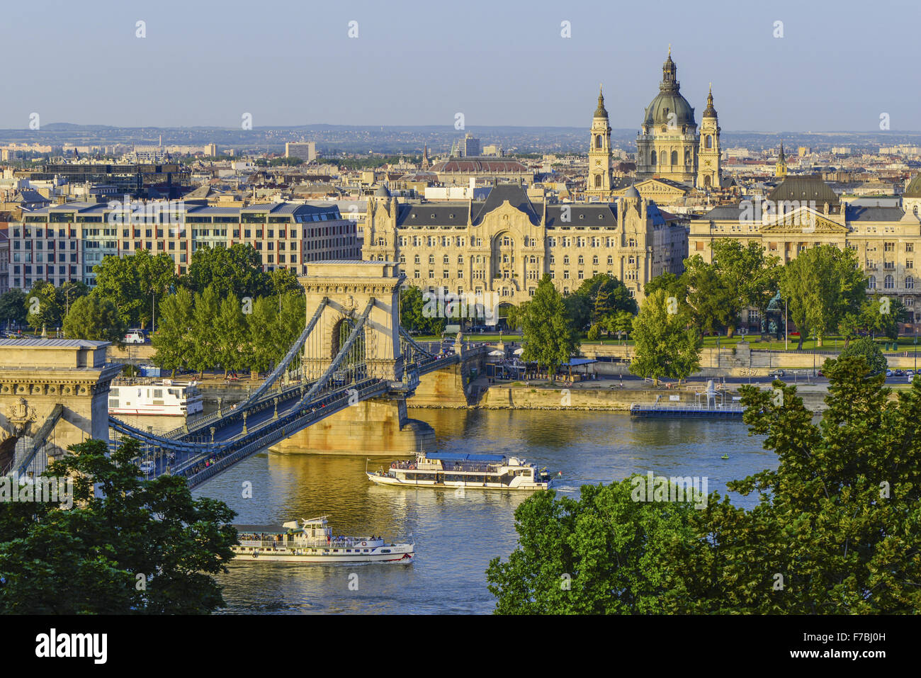 Budapest, chain bridge, Hungary - Stock Image