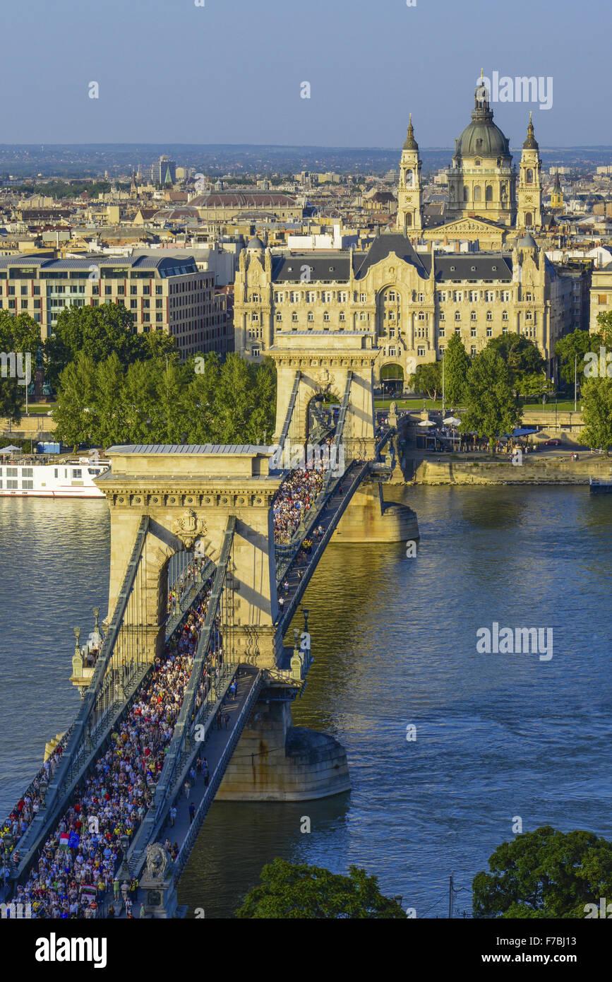 Budapest, chain bridge, Hungary - Stock Image