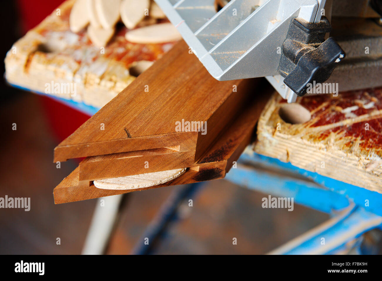 Wooden frame with mitre cut to make a square corner and double slots for jointing biscuits, one inserted - Stock Image