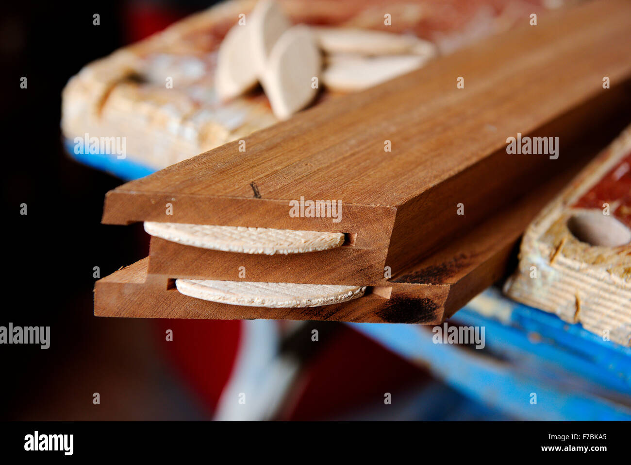 Wooden frame with mitre cut to make a square corner and double slots for jointing biscuits, both biscuits inserted - Stock Image