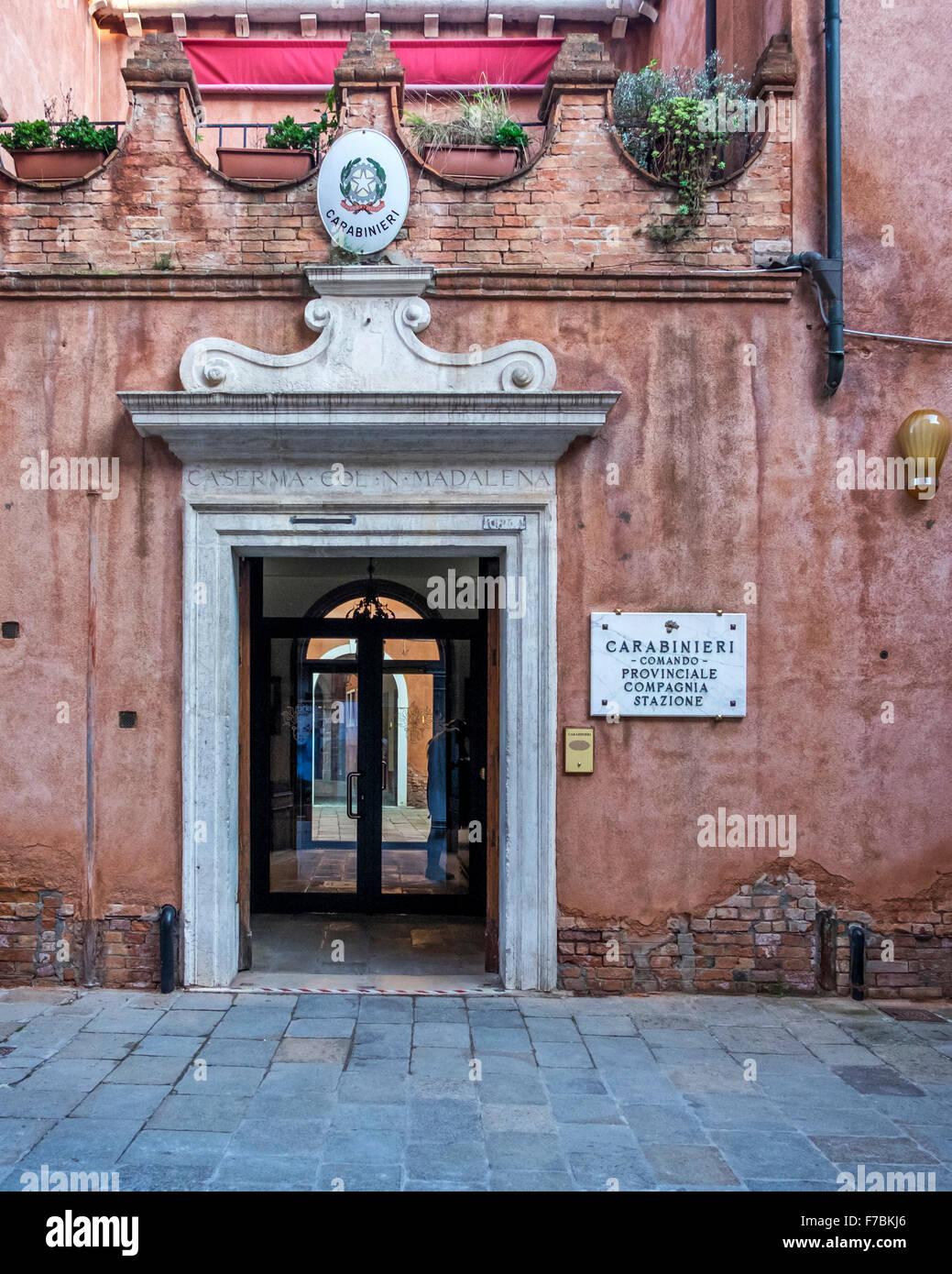 Venice Italy. Police station entrance. elegant arched door frame ...