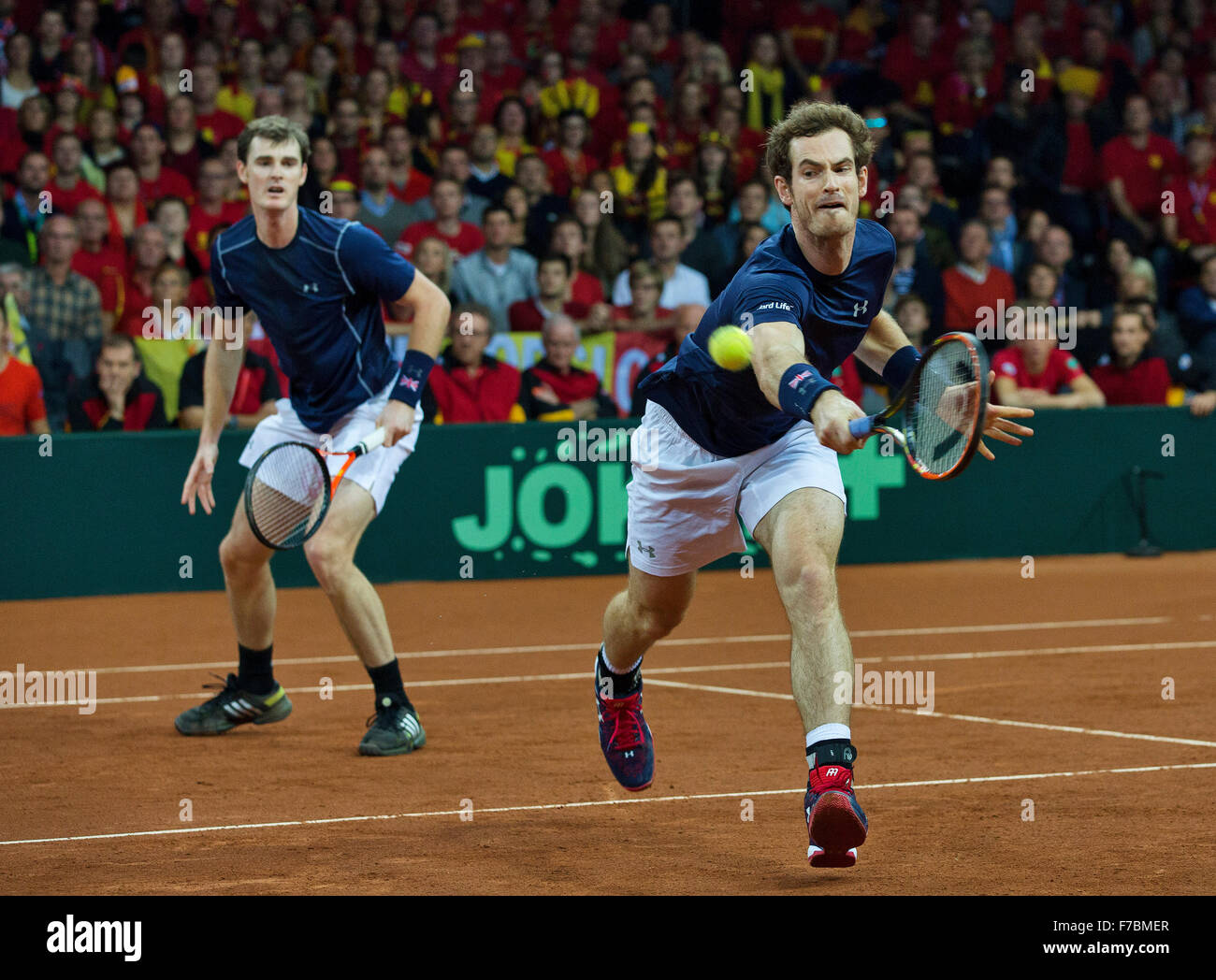 Gent, Belgium, November 28, 2015, Davis Cup Final, Belgium-Great Britain, day two, doubles match, Andy Murray / - Stock Image