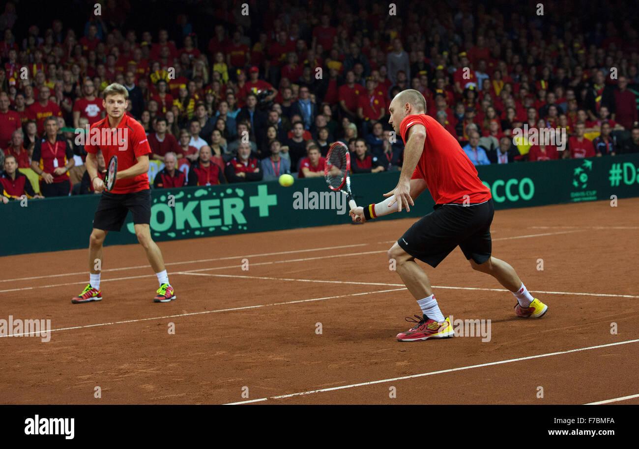 Gent, Belgium, November 28, 2015, Davis Cup Final, Belgium-Great Britain, day two, doubles match, David Goffin (L)/ - Stock Image