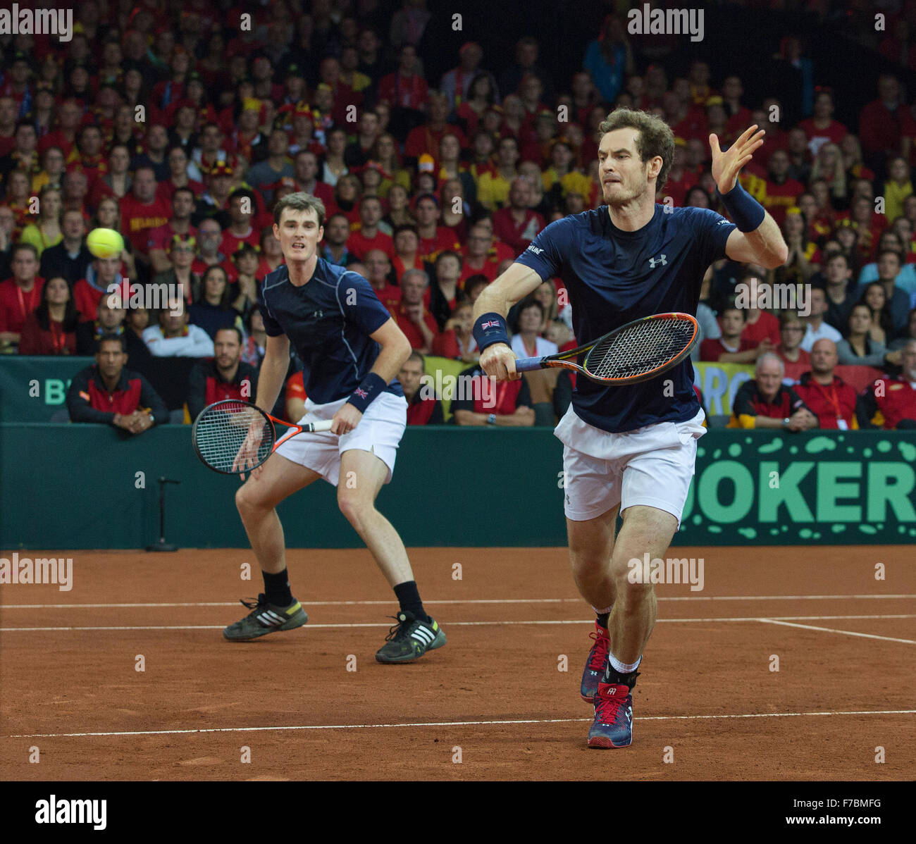 Gent, Belgium, November 28, 2015, Davis Cup Final, Belgium-Great Britain, day two, doubles match, Andy Murray (R) - Stock Image
