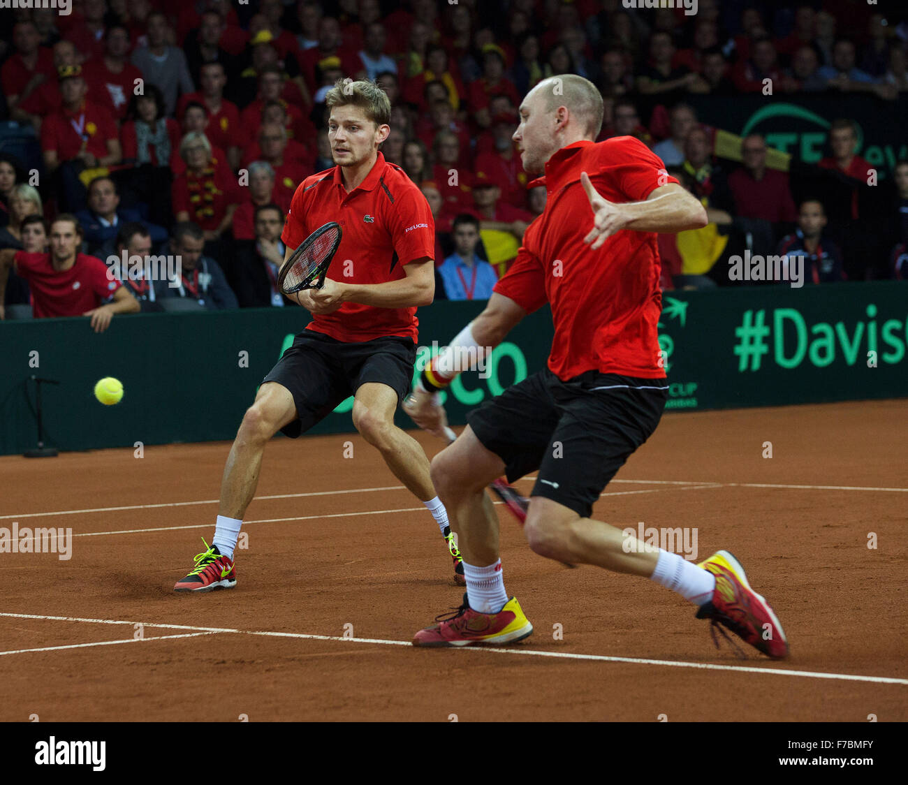 Gent, Belgium, November 28, 2015, Davis Cup Final, Belgium-Great Britain, day two, doubles match, David Goffin (L) - Stock Image