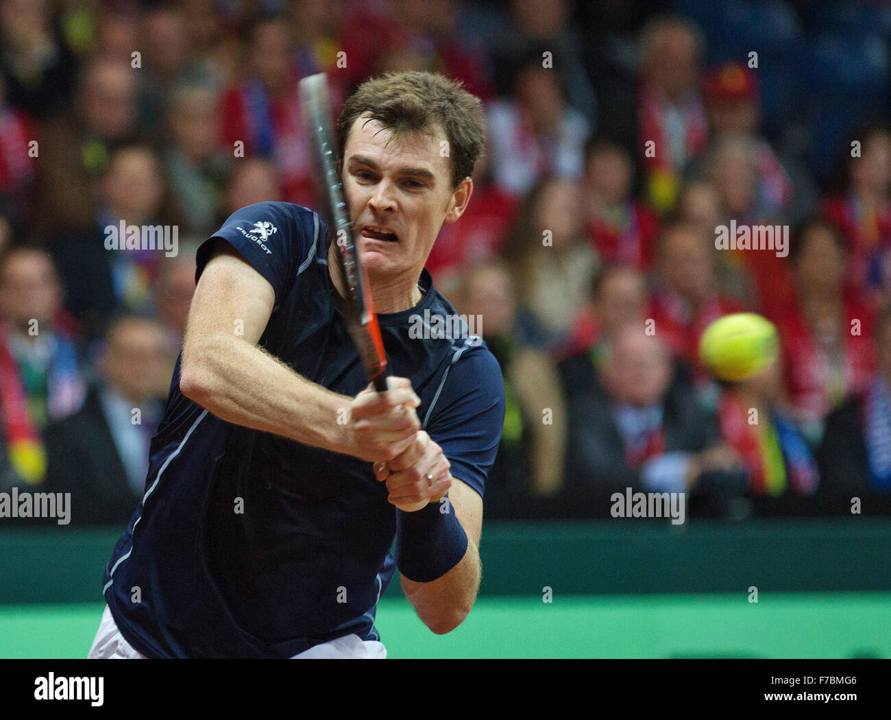 Gent, Belgium, November 28, 2015, Davis Cup Final, Belgium-Great Britain, day two, doubles match, Jamie Murray (GBR) - Stock Image