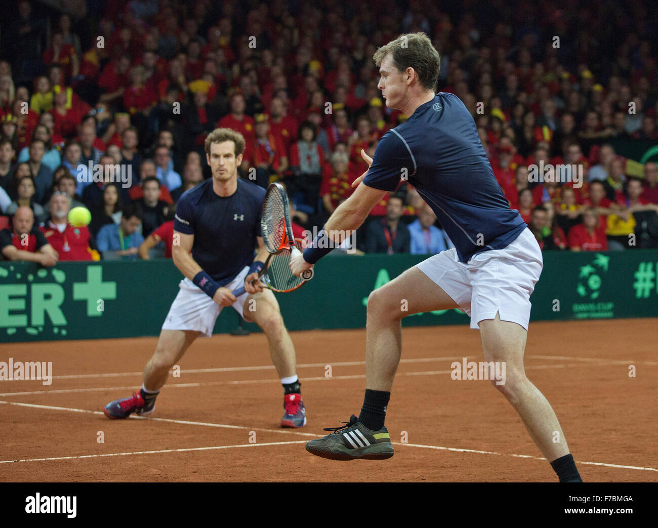 Gent, Belgium, November 28, 2015, Davis Cup Final, Belgium-Great Britain, day two, doubles match, Andy Murray(L)/Jamie - Stock Image
