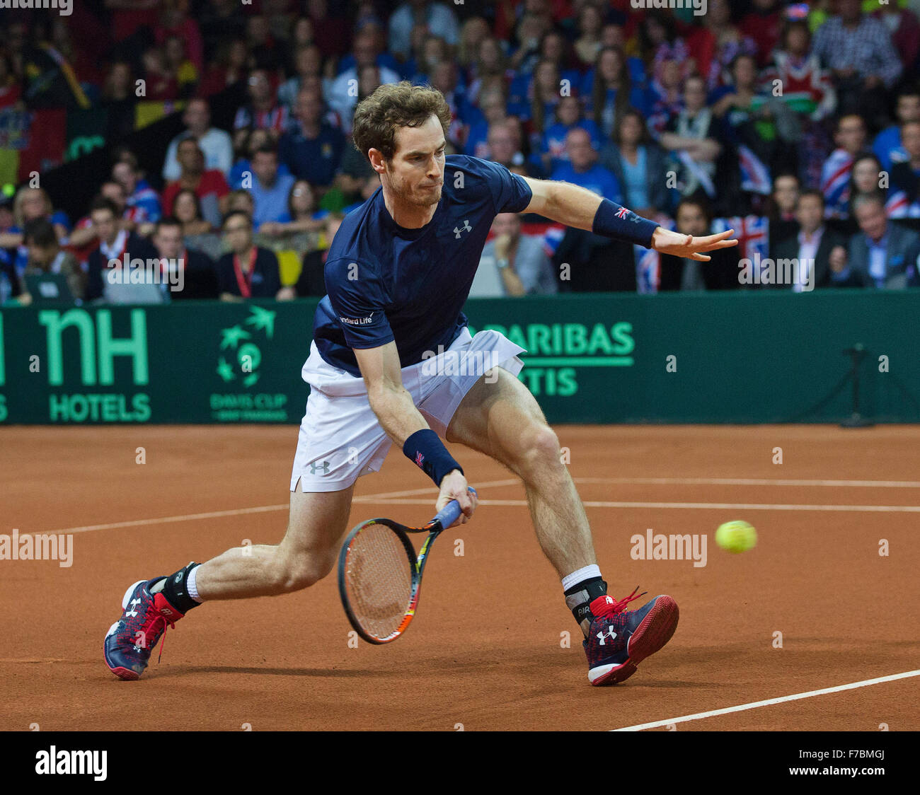 Gent, Belgium, November 28, 2015, Davis Cup Final, Belgium-Great Britain, day two, doubles match, Andy Murray (GBR) - Stock Image