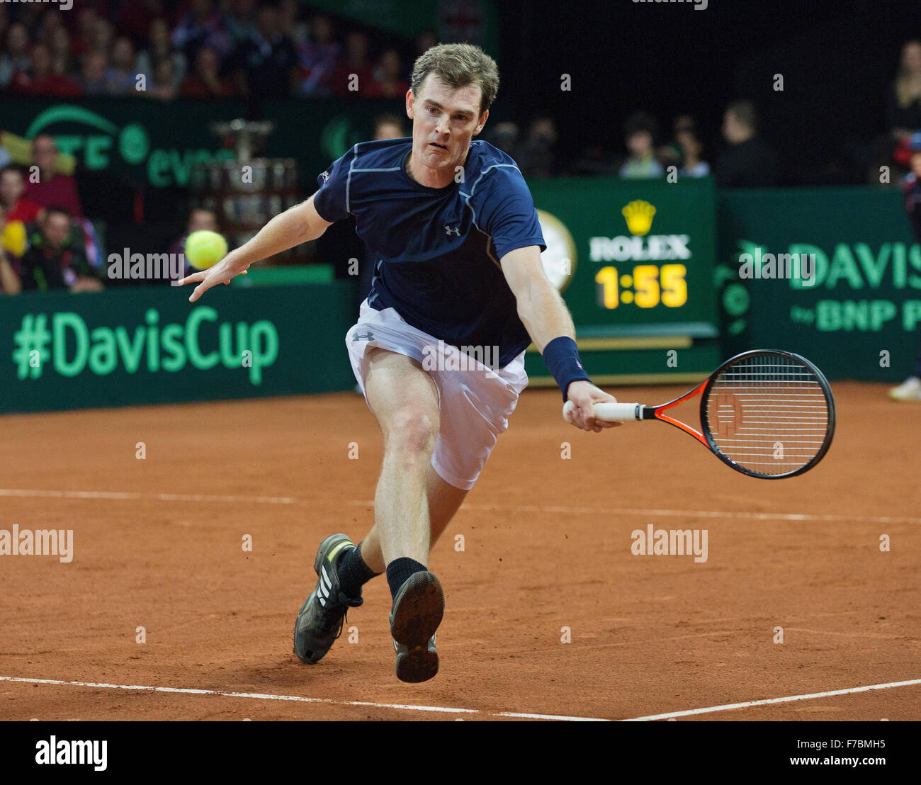 Gent, Belgium, November 28, 2015, Davis Cup Final, Belgium-Great Britain, day two, doubles match, Jamie Murray (GBR) - Stock Image