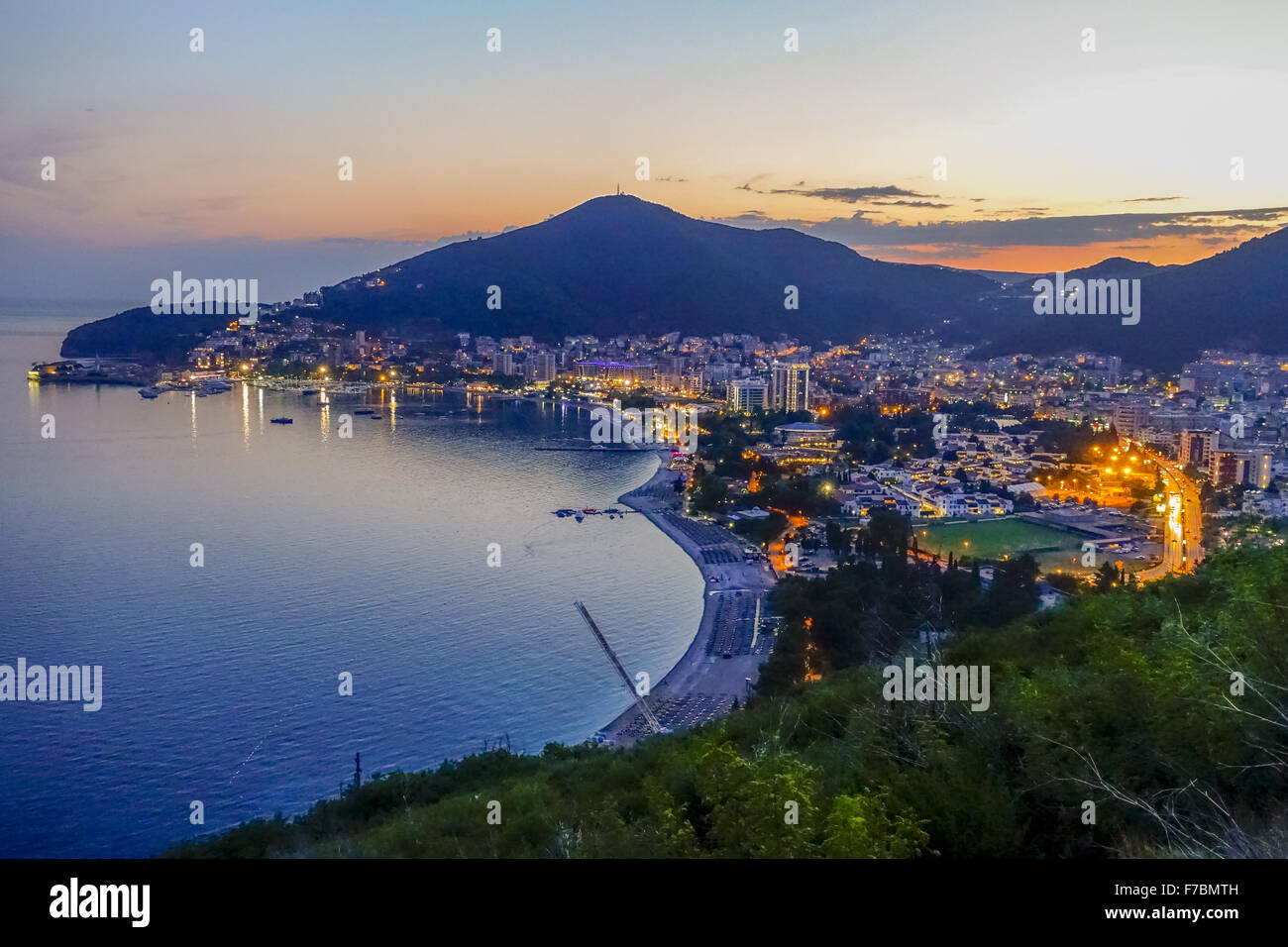 Budva at night, Montenegro, Budva - Stock Image