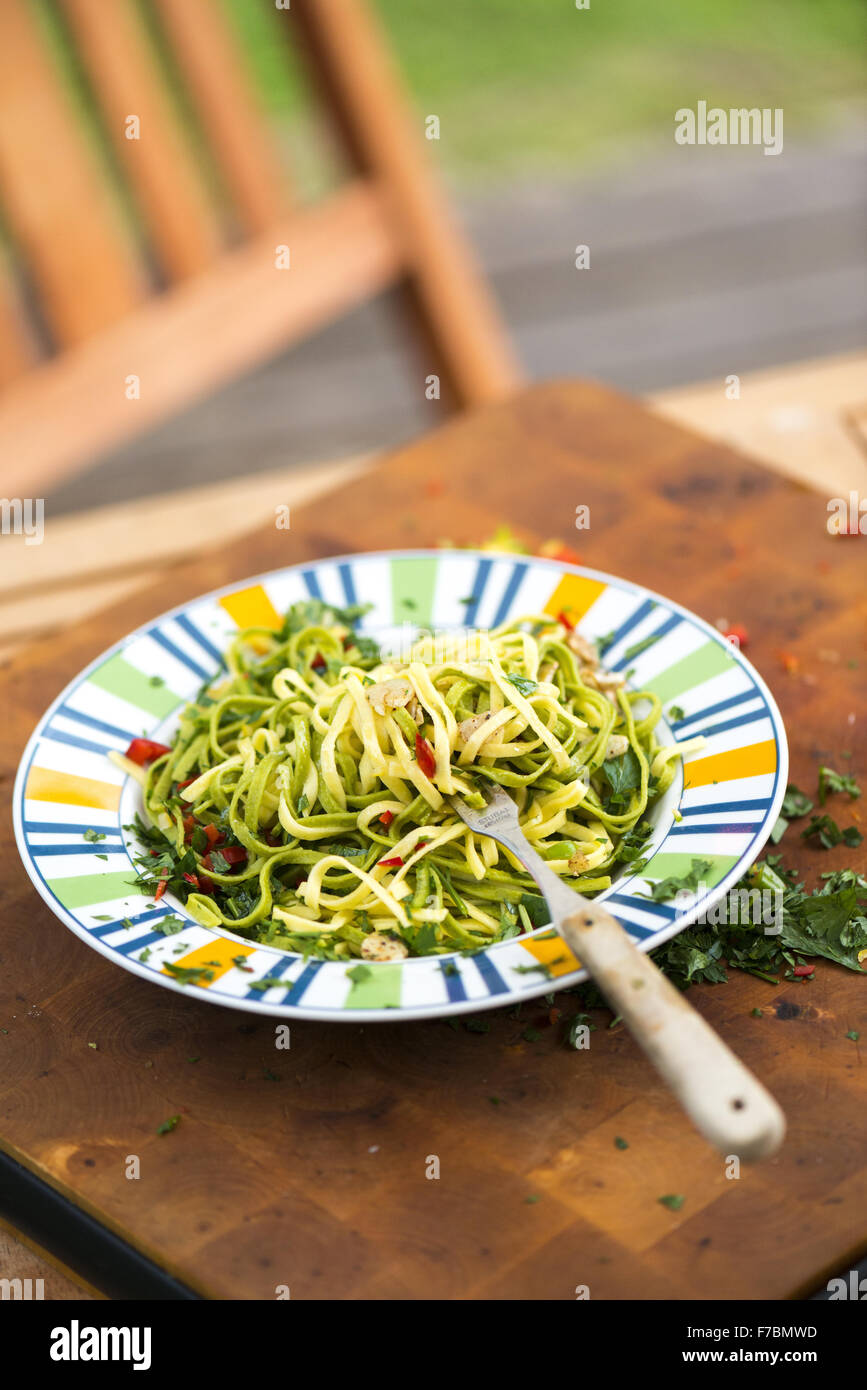Summer garden party grill barbecue, pasta, Austria, near Vienna, Vienna - Stock Image